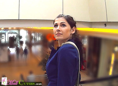 Sexy czech girl with blue eyes in the shopping centre